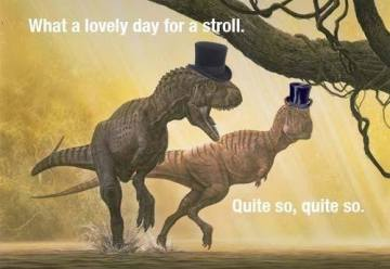 I am also really ok with these dinosaurs in hats.